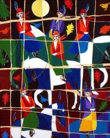 JAGDRUF</br>Acryl auf Leinwand, 80 x 100 cm, 2004