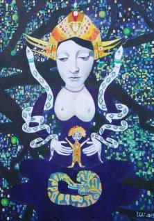 GODDESS OF THE SNAKES</br>Oil on canvas, 140 x 100 cm, 2013