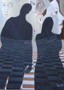 MEDITATION ÜBER LEBEN UND TOD</br>Öl auf Leinwand, 140 x 100 cm, 2015
