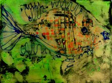 STRÖMEN IM FLUSS</br Mischtechnik auf Papier, 64,5 x 50 cm, 1970