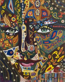 THOUSAND AND ONE NIGHT</br>Mixed media on canvas, 90 x 70 cm, 2006