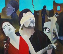 ORPHEUS AND EURYDIKE FOOLING FORTUNE</br>Oil on canvas, 120 x 140 cm, 2017