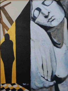 THE ADIEU</br>Mixed media on canvas, 80 x 60 cm, 2007