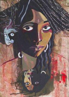 DIE SCHAMANIN</br>Acryl auf Leinwand, 70 x 50 cm, 2004