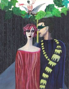 DIE VERTREIBUNG AUS DEM PARADIES</br >Mischtechnik auf Papier, 64,5 x 50 cm, 2002