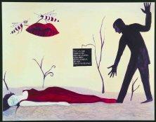 WESPENGESPRÄCH</br>Mischtechnik auf Papier, 50 x 64,5 cm, 2002