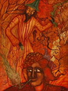 SURROUNDED BY RAINFOREST SPIRITS</br>Mixed media on paper, 39 x 29 cm, 1995