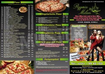 Pizzeria Milan - Speisekarte - Pizza, Pasta, Gyros in Ihrer Pizzeria Gummersbach