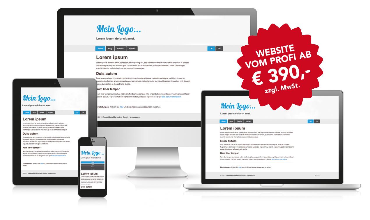 Demonstration: Responsive Webdesign der Websites zum Festpreis