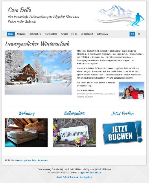 Webseiten Vorlage für Vermietung Ferienwohnungen