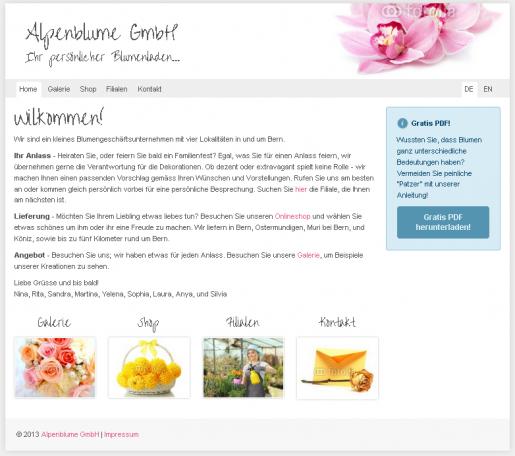 Webseite Internetseite Vorlage Florist Blumenladen