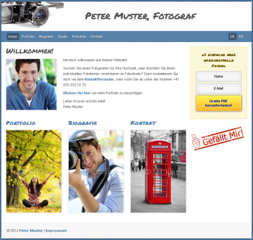 Homepage für Fotografen Webseite