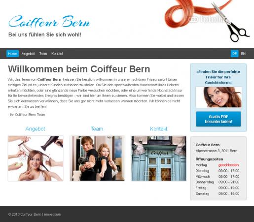 Friseur Webseite Homepage Vorlage