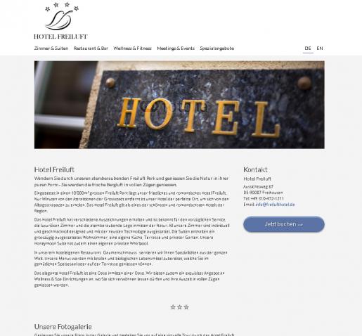 Hotel Webseiten Homepage Vorlage