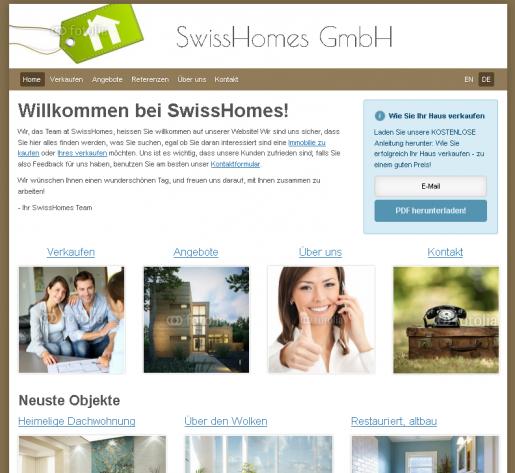 Immobilienmakler Homepage Webseiten Vorlage