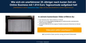 Landingpage für Affiliate Marketing