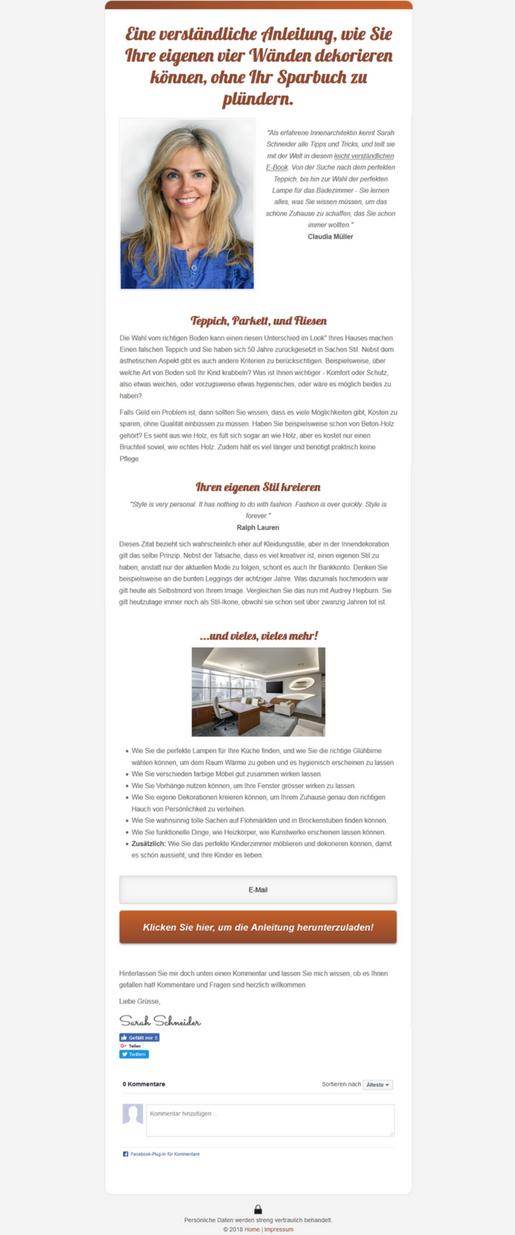 Landingpage erstellen Landingpagevorlage Sales Letter