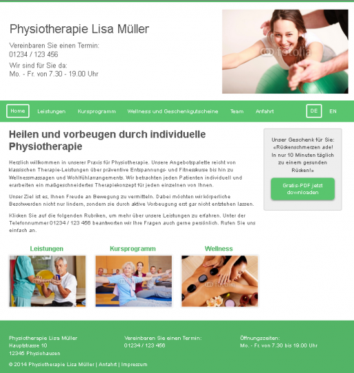 Physiotherapeut Physiotherapie Praxis Webseite Homepage