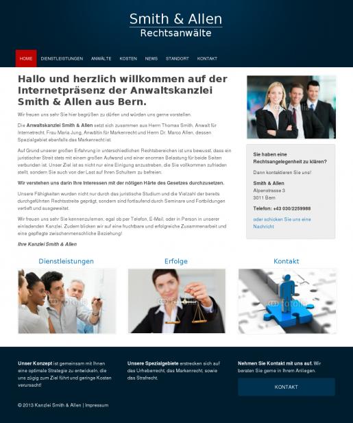 Rechtsanwalt Beispiel Webseite Homepage Muster