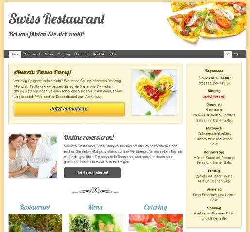Homepage Restaurant Pizzeria Gaststätte Döner Internetseite