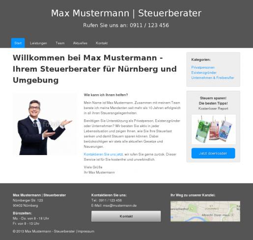 Internetseite Homepage Steuerberater Muster
