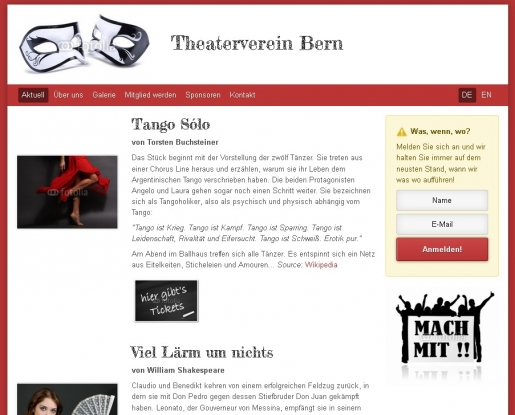 Webseite Homepage Internetseite Theaterverein Theater Muster
