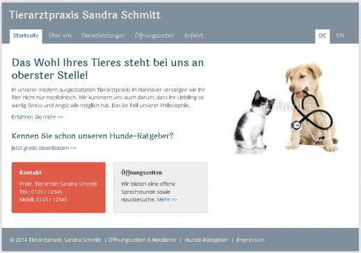 Tierarzt Homepage Webseite Internetseite Muster