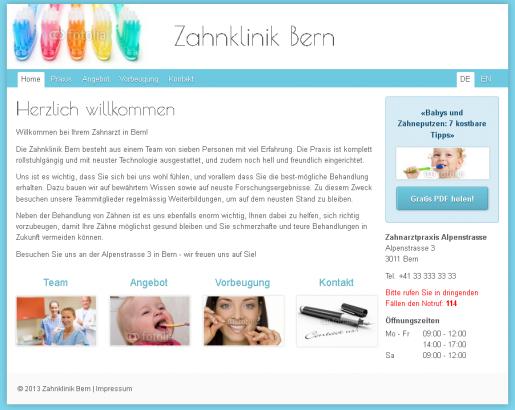 Zahnarzt Homepage Webseiten Vorlage Muster