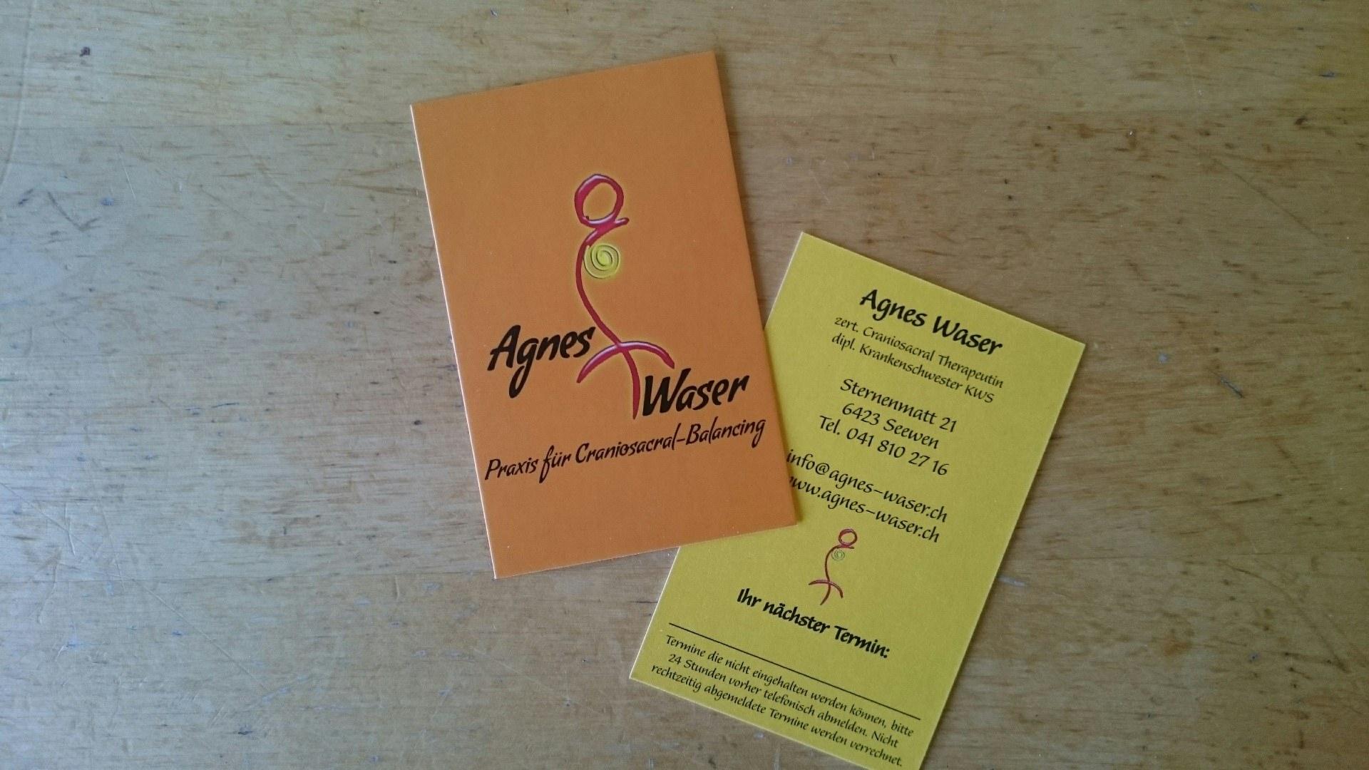 Visitenkarte & Terminkarte in einem für Agnes Waser Craniosacral Balancing