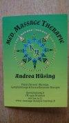 Flyer, Visitenkarte & Terminkarte in einem für Massagetherapie A. Hüsing (vorne: Visitenkarte)