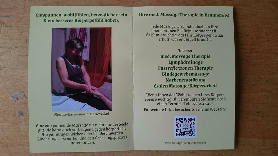 Flyer, Visitenkarte & Terminkarte in einem für Massagetherapie A. Hüsing (Mitte: Flyer)