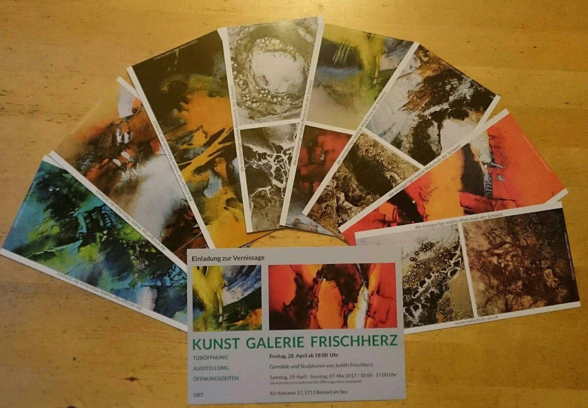 Kunstpostkarten & Einladung Vernissage für Malschule ART - Kunstgalerie Frischherz