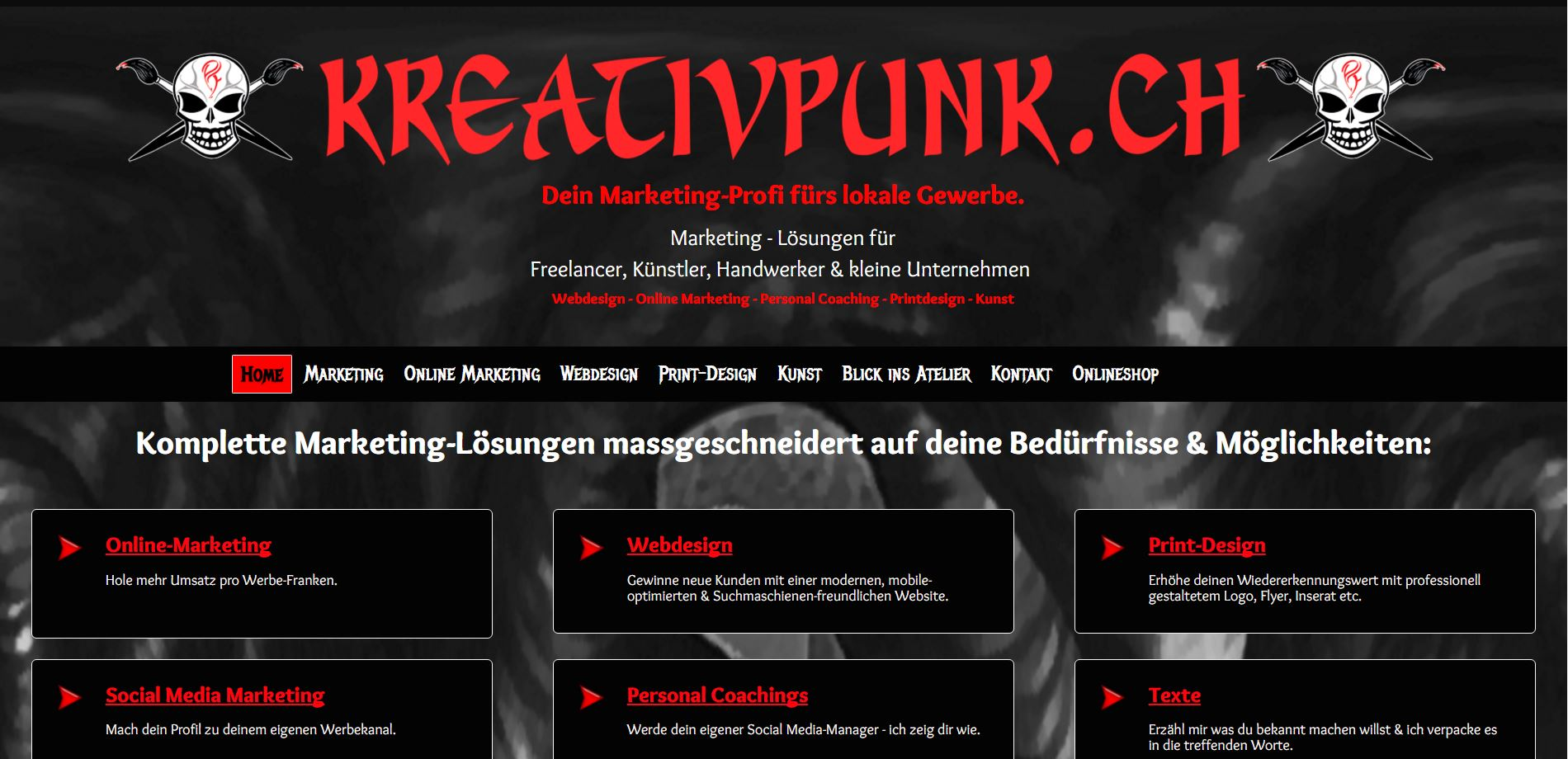 Screenshot Website www.kreativpunk.ch - Ansicht Desktop