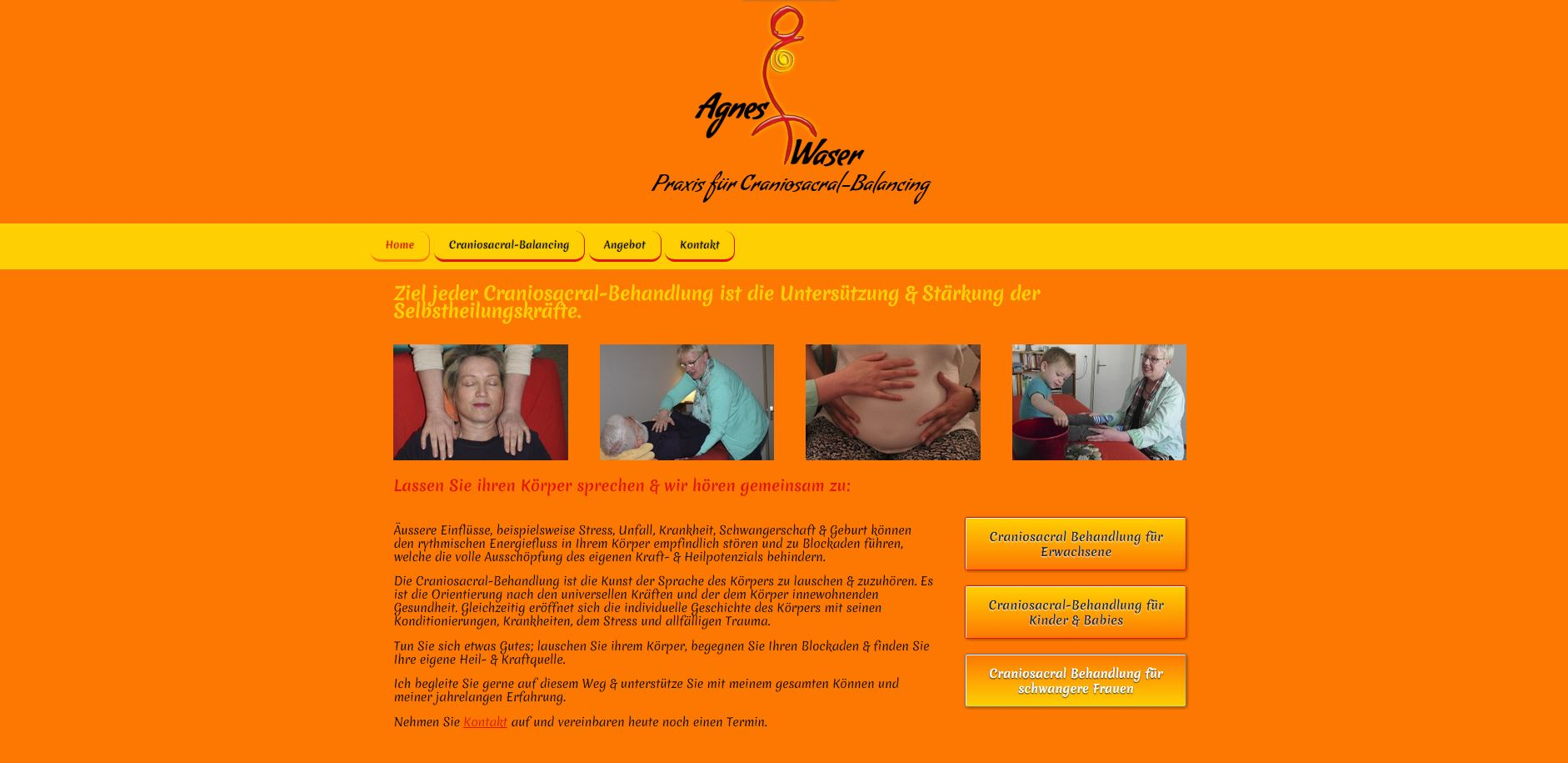 Screenshot der Website www.agnes-waser.ch Ansicht Desktop