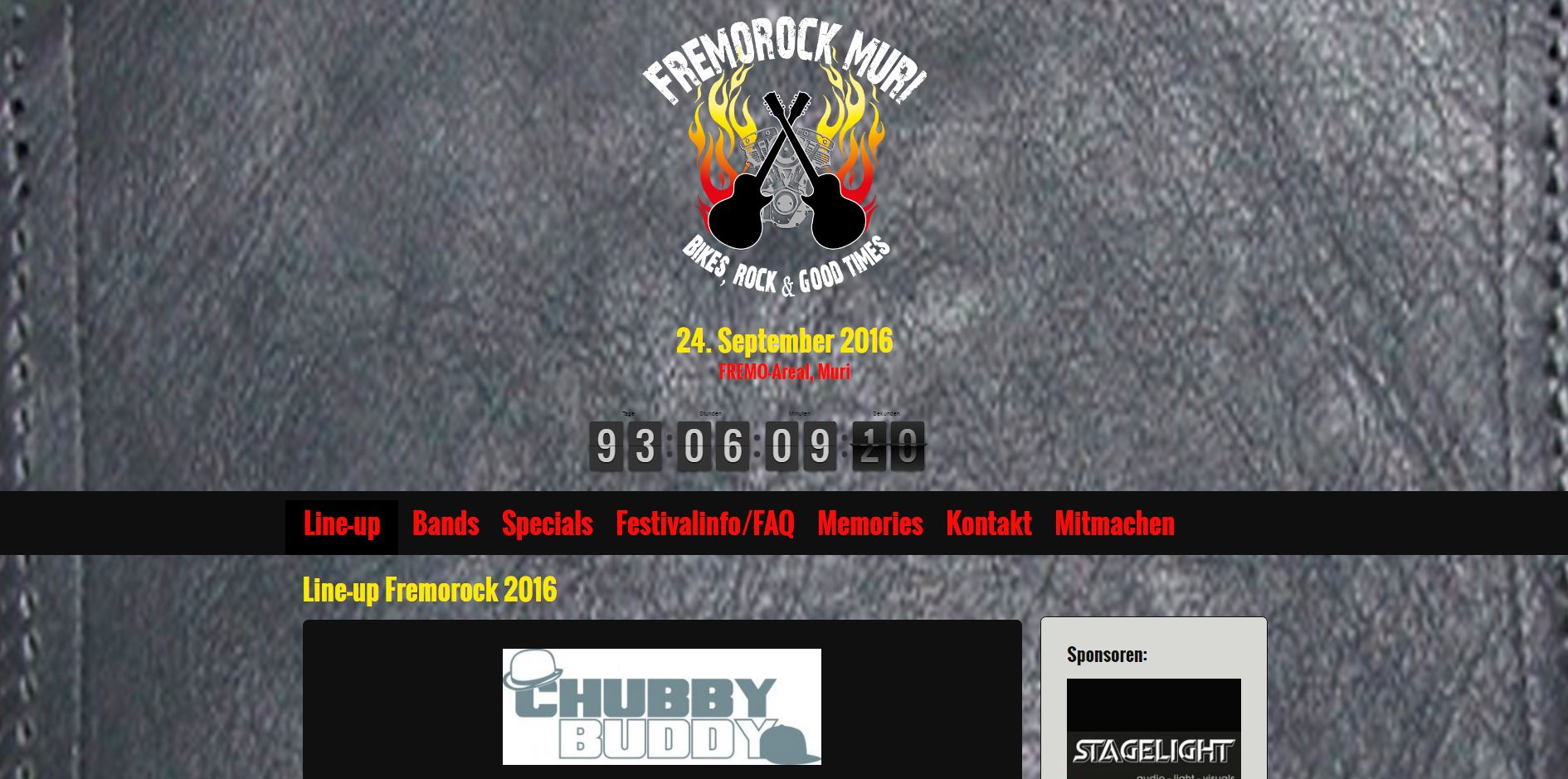 Screenshot der Website www.fremorock-muri.ch - Ansicht Desktop