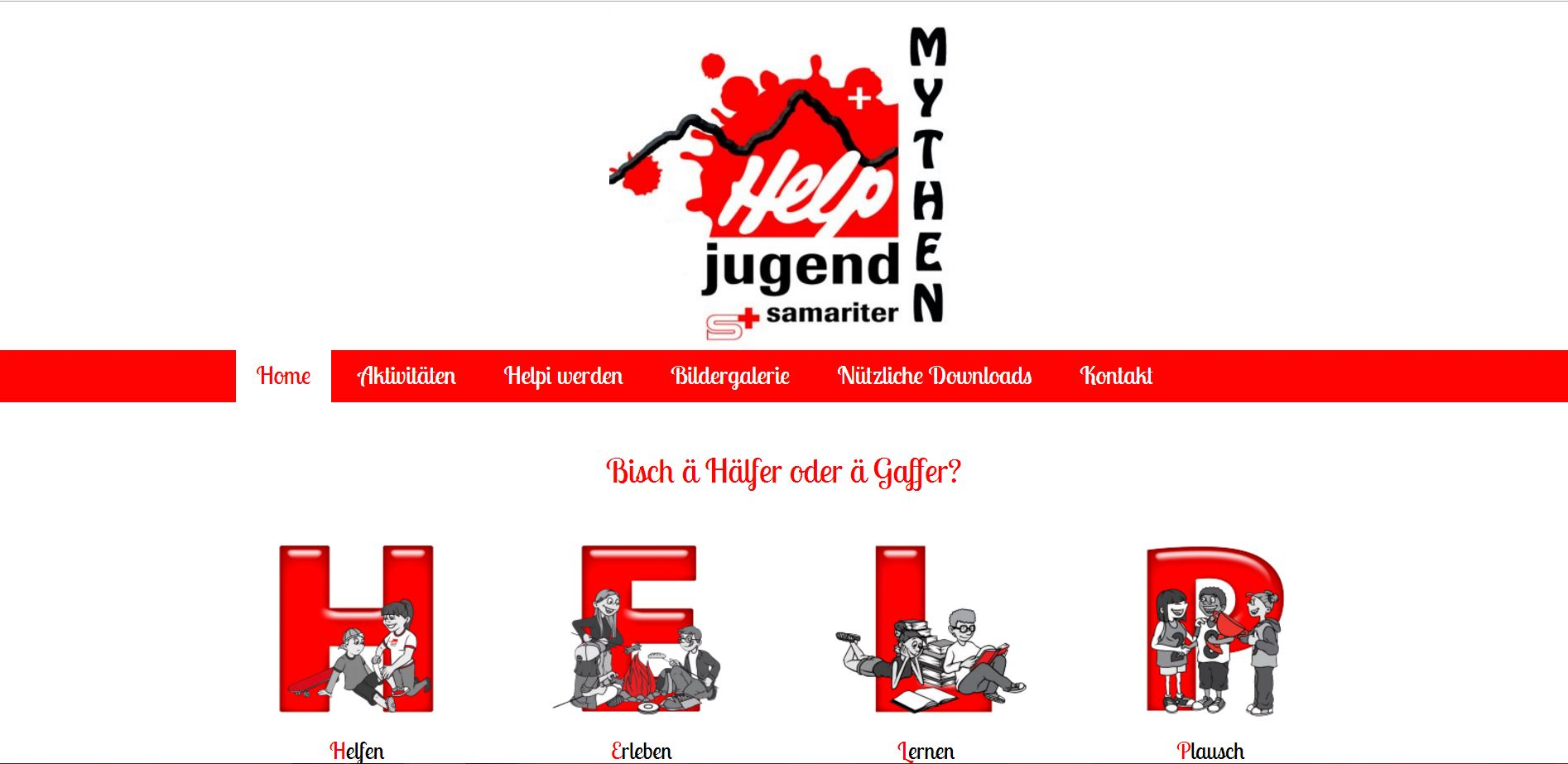 Screenshot der Website www.help-mythen.ch - Ansicht Desktop