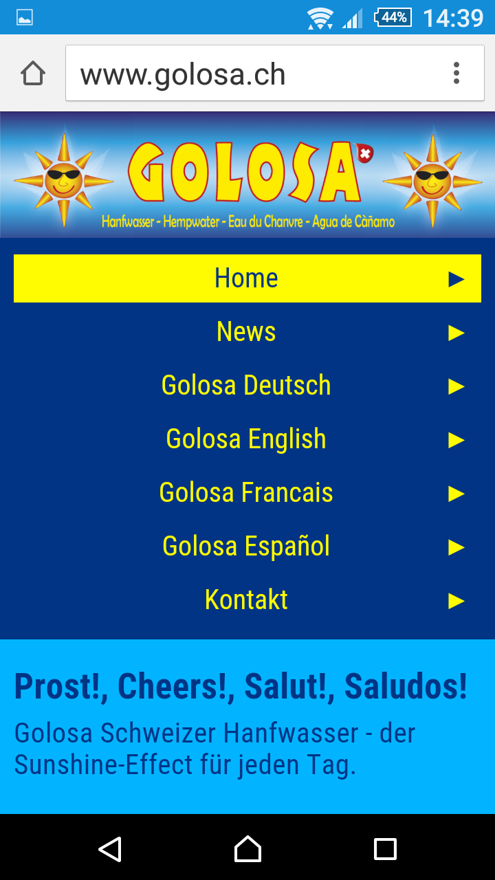 Screenshot Website www.golosa.ch - Ansicht Mobile