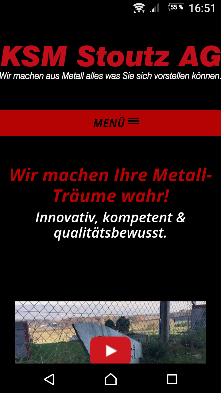 Screenshot Website www.stoutz.ch  - Ansicht Mobile