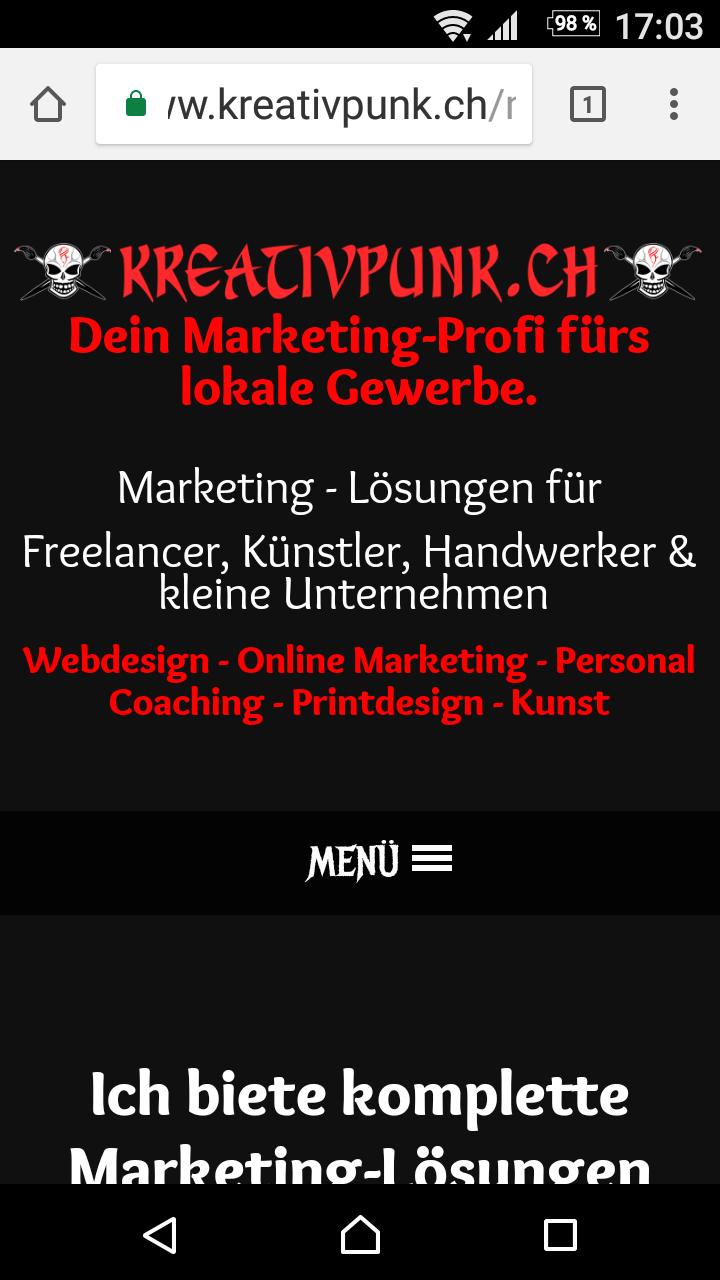 Screenshot www.kreativpunk.ch - Ansicht Smartphone