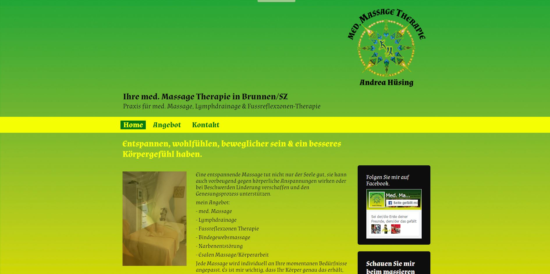 Screenshot der Website www.massage-therapie-huesing.ch Ansicht Desktop