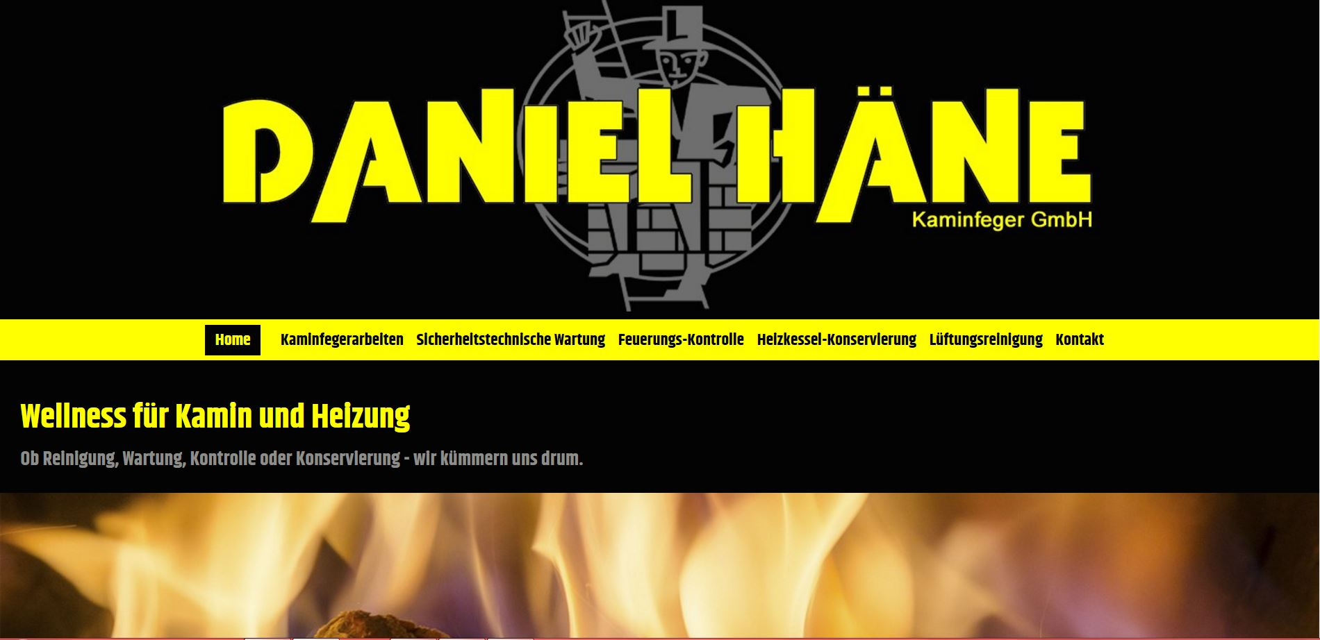 Screenshot der Website www.kaminfeger-haene.ch - Ansicht Desktop