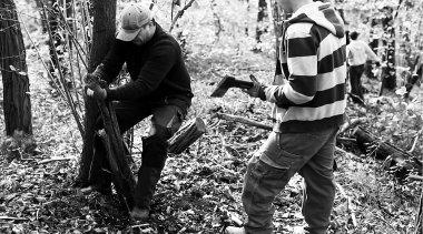 Sammeln von Holz für die Bearbeitung