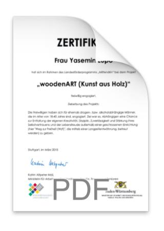 woodenART Zertifikat - Helfende Hände e.V. Stuttgart