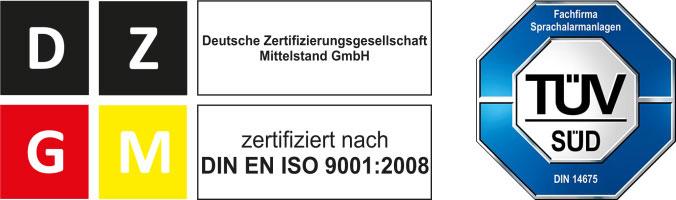Laauser & Vohl GmbH - Zertifizierung nach ISO9001 und DIN14675 und TÜV.