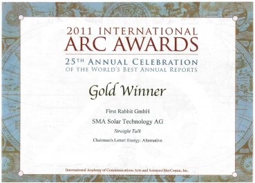 ARC AWARDS GOLD WINNER