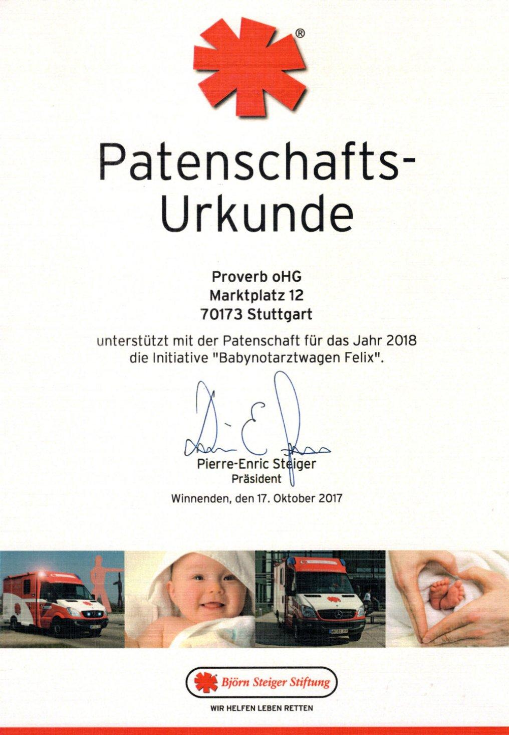 """Patenschaft für das Jahr 2018 die Initiative """"Babynotarztwagen Felix"""" der Björn Steiger Stiftung"""
