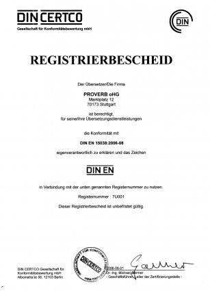 Übersetzungsbüro zertifiziert nach DIN EN 15038