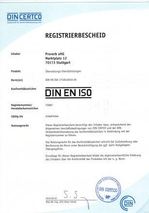 Übersetzungsbüro zertifiziert nach DIN EN ISO 17100
