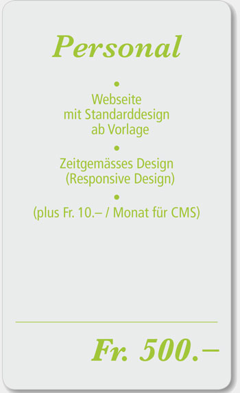 personal Webdesign Angebot