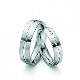 Ringe aus rhodiniertem Weissgold mit Brillanten